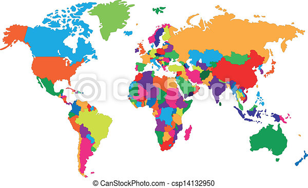 Corolful world map colored map of world with countries clipart corolful world map csp14132950 gumiabroncs Image collections