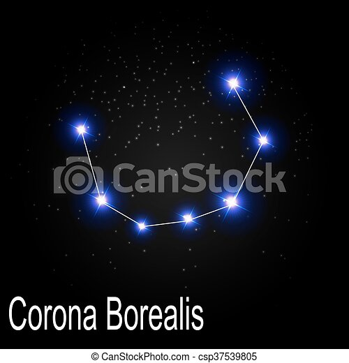 Corona Borealis Constellation With Beautiful Bright Stars On The Background Of Cosmic Sky Vector Illustration Eps10