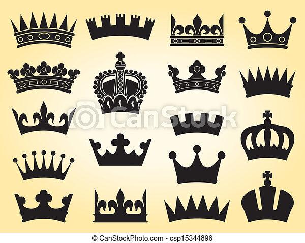 Grficos vectoriales EPS de corona coleccin crown conjunto