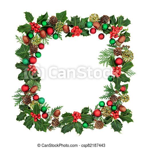 corona de navidad, decoración, cuadrado - csp82187443