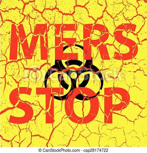 Las grietas de fondo detienen el signo del virus de la corona. Ilustración de vectores. - csp28174722
