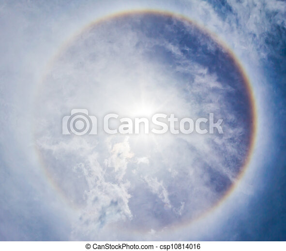 Corona on blue sky, the sun with the ring - csp10814016