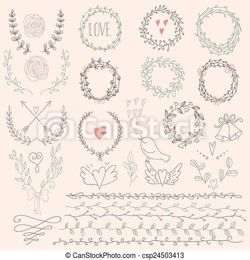 Un juego de coronas florales de Laurel y fr - csp24503413