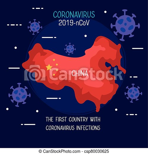 coronavirus 2019 ncov infographic with map china and particles - csp80030625