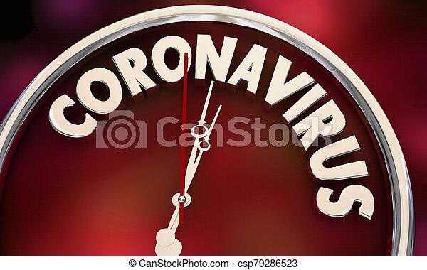 Coronavirus Clock Time Running Out COVID-19 Outbreak Pandemic 3d Illustration - csp79286523