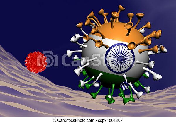 coronavirus close-up with Indian flag inside-it - csp91861207
