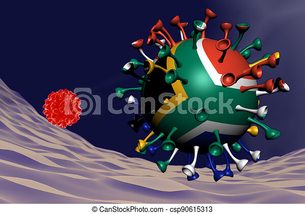 coronavirus close-up with South Africa flag inside-it - csp90615313