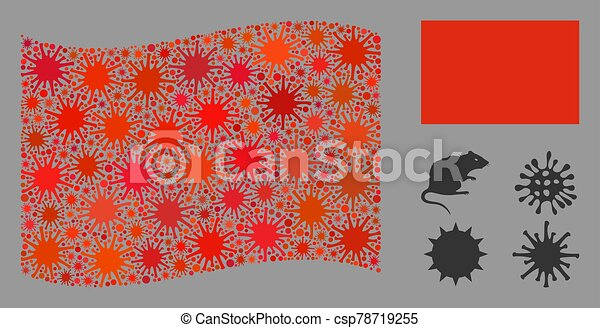 Coronavirus Collage Red Flag Coronavirus Collage Waving And Flat Red Flag Mosaic Vector Is Formed With Red Flag Icon And
