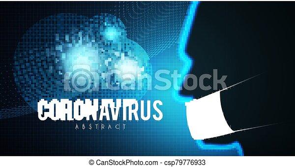 Coronavirus COVID-2019 on blue background. Virus 2019-nCoV cells. - csp79776933