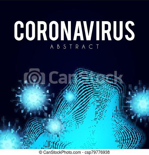 Coronavirus COVID-2019 on blue background. Virus 2019-nCoV cells. - csp79776938