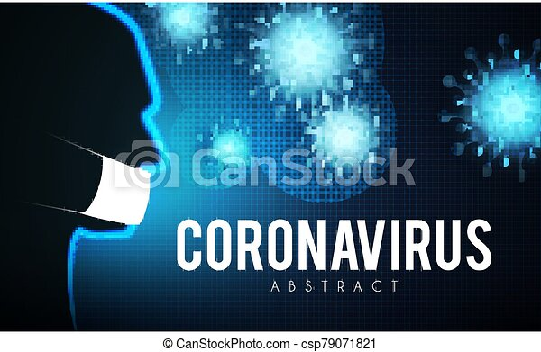 Coronavirus COVID-2019 on blue background. Virus 2019-nCoV cells. - csp79071821