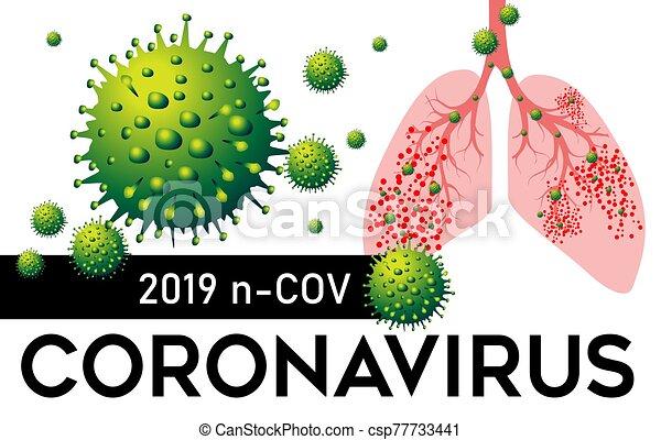 coronavirus, illustration., vector, pneumonia, 2019, pulmones, n, cov, china - csp77733441