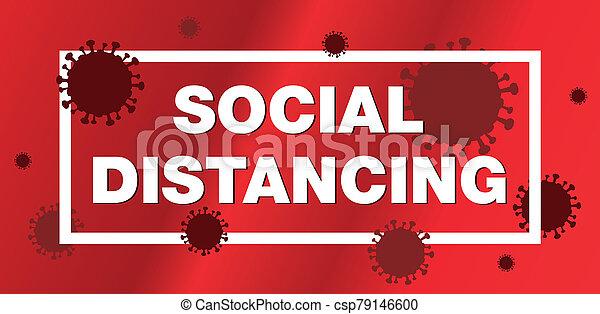 coronavirus, ilustración, social, distancing - csp79146600