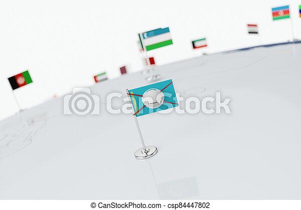 Coronavirus medical surgical face mask on the Kazakh national flag - csp84447802
