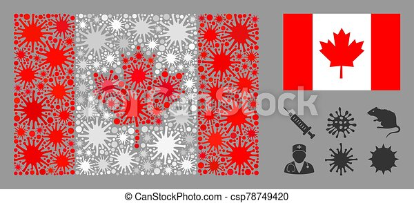 Coronavirus Mosaic Canada Flag Coronavirus Mosaic And Flat Canada Flag Mosaic Vector Is Designed With Canada Flag Icon And