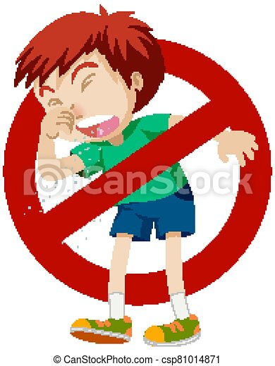 Coronavirus theme with boy coughing and stop sign - csp81014871