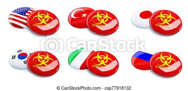 Coronavirus USA, South Korea, Turkey, Russia, Japan, Italy on a white background 3D illustration - csp77918132