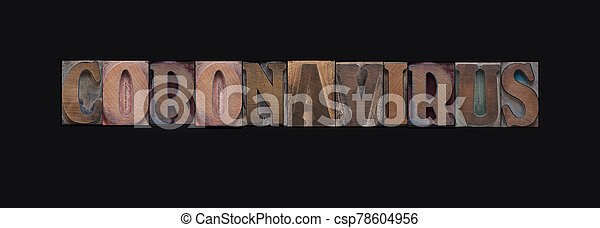 Coronavirus word in wood letters on black - csp78604956