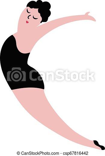 corpo, concetto, illustration., ballo, positivo, girl., vettore, più, formato, felice - csp67816442