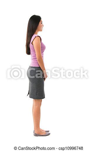 corpo, pieno, femmina asiatica, vista laterale - csp10996748