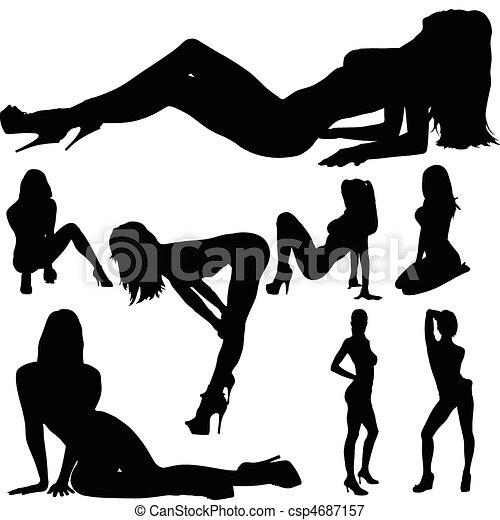 corpo, sexy, ragazza, vettore, silhouette - csp4687157