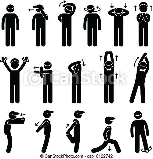 corpo, tendendo esercizio, icona - csp18122742