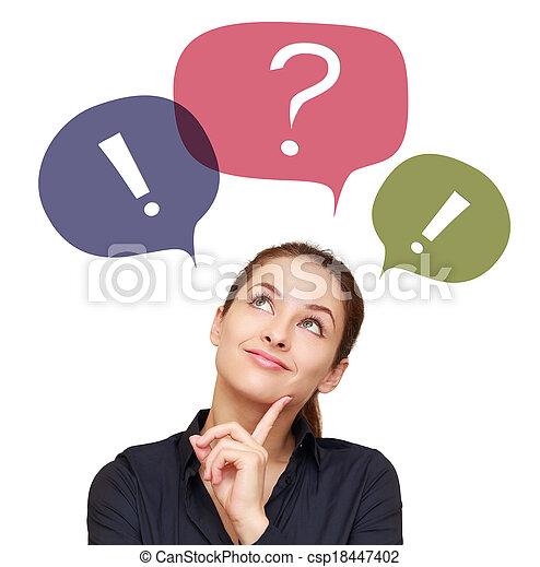 Una mujer pensante de negocios con burbujas de chat coloridas por encima aisladas - csp18447402
