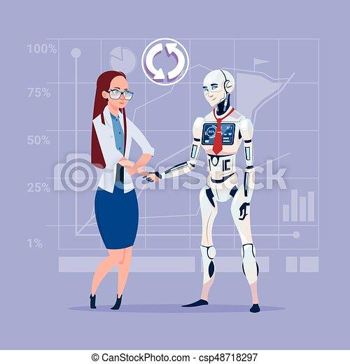 Mujer de negocios y robot moderno estrechando manos concepto de cooperación de inteligencia artificial - csp48718297