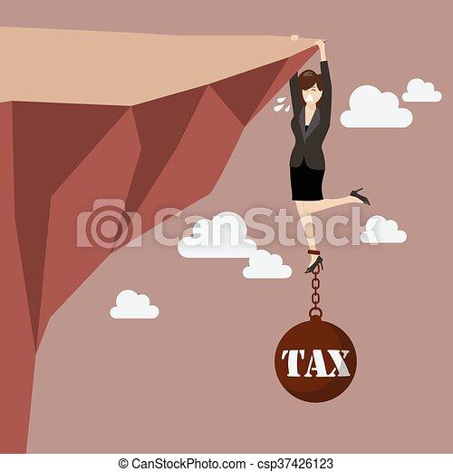 La mujer de negocios se esfuerza en mantener el acantilado con una carga fiscal - csp37426123