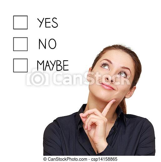 Pensando en las mujeres de negocios tomando decisiones sí, no o tal vez aisladas en antecedentes blancos - csp14158865