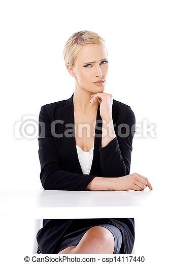 corporación mercantil de mujer, sentado, rubio, escritorio, adorable - csp14117440