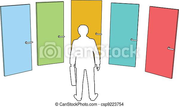La persona de negocios elige las puertas - csp9223754
