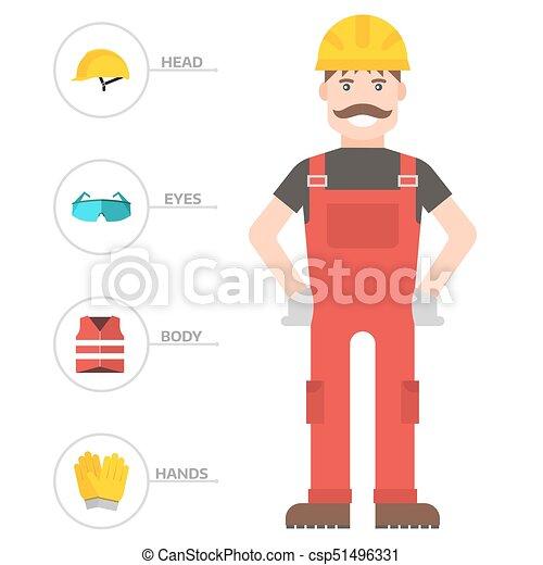corporal, apartamento, industrial, engrenagem, trabalhador, fábrica, ilustração, equipamento, proteção, vetorial, homem, segurança, clothing., ferramentas, engenheiro - csp51496331