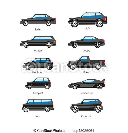 corporal, apartamento, jogo, ícones, car, isolado, vetorial, nomes, automóvel, tipo, ou - csp48026061