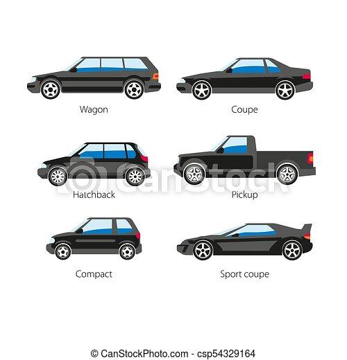 corporal, apartamento, jogo, ícones, car, isolado, vetorial, nomes, automóvel, tipo - csp54329164