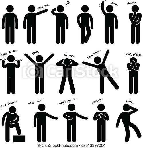 corporal, homem, pessoas, língua, postura - csp13397004