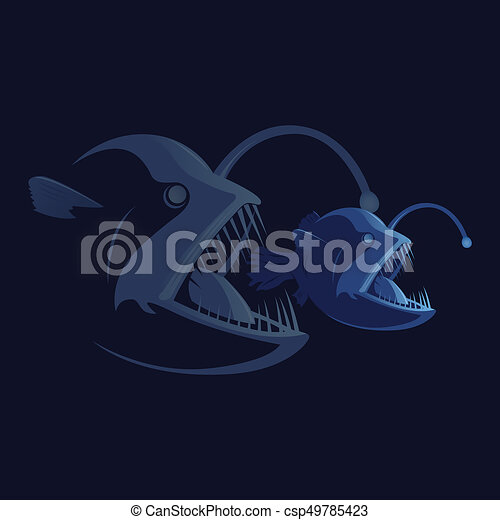 Corporate business aggressive merger concept. Food chain. Bigger fish eating smaller one. Flat style vector illustration isolated on white dark background. - csp49785423