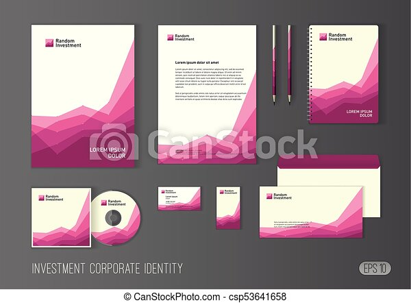 Corporate identity template for investment company modern modern stationery template design stylized with charts for investment business brochure cover letterhead envelope business card pen cd cover reheart Choice Image