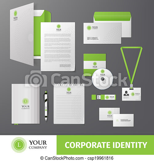 corporate identity template green geometric business company