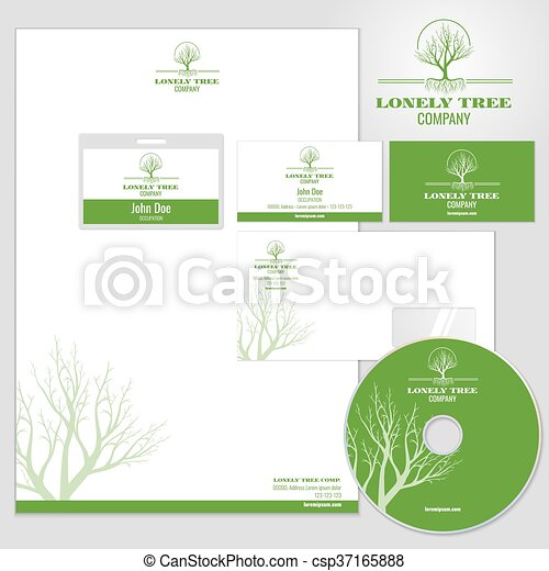 Corporate identity vector mockup template with tree logo identity corporate identity vector mockup template with tree logo cheaphphosting Gallery