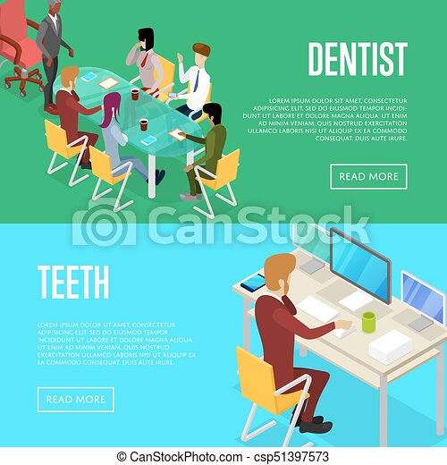Corporate Office Life Isometric 3d Posters Vector