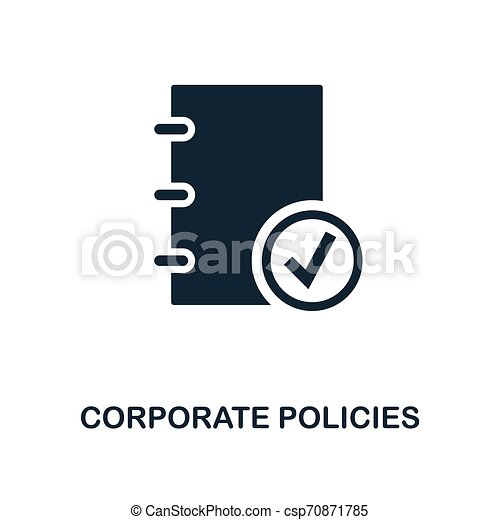 Corporate Policies icon. Monochrome style design from business ethics icon collection. UI and UX. Pixel perfect corporate policies icon. For web design, apps, software, print usage. - csp70871785