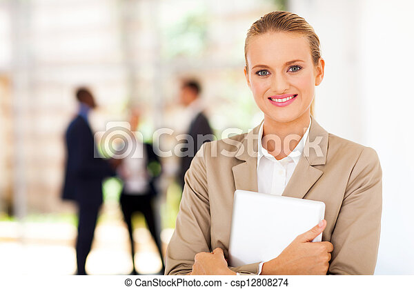 corporate worker with tablet computer - csp12808274