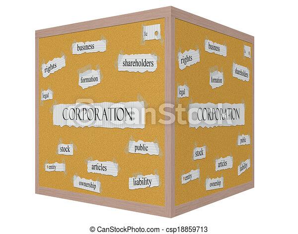 Corporation 3D cube Corkboard Word Concept - csp18859713
