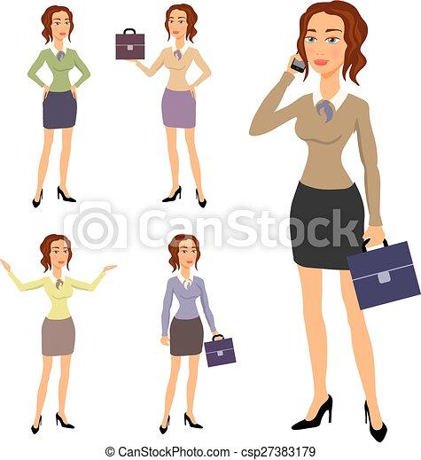 corps beau, différent, brunette, femme affaires, trois, illustration, gestes, poser, confection, lunettes - csp27383179