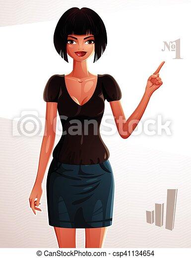 corps, dame, entiers, elle, pointage, jeune, coquette, concept., nombre, illustration, une, finger., quelque chose, joli, portrait, girl, bronzé, woman., côté - csp41134654
