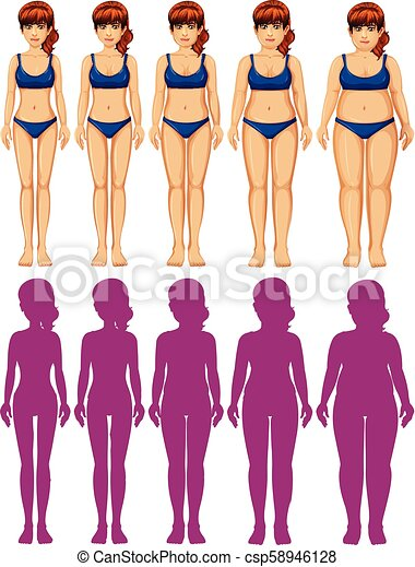 corps, ensemble, femme, silhouette - csp58946128