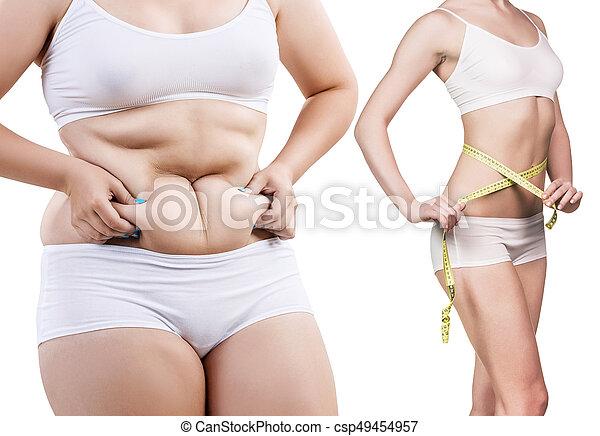 corps, femme, loss., poids, après, avant - csp49454957