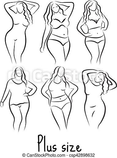 corps femme sketch dessin illustration main curvy vecteurs search clip art. Black Bedroom Furniture Sets. Home Design Ideas