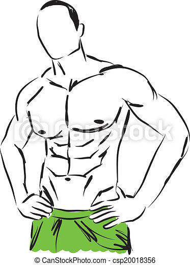 Dessin Corps Homme corps, illustrat, homme, travail-dehors, fitness. corps, homme